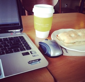 A writing session at Starbucks.